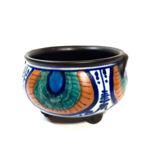 Antique Art Deco Dutch Gouda Pottery Vase / Bowl / Jug / Blue & Orange